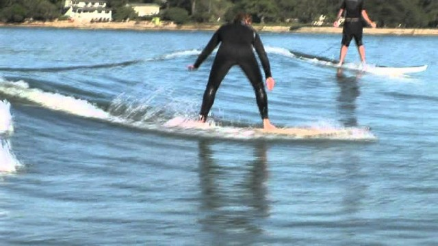 Learn To Surf – Lesson – Beginners – DVD on a Riley Balsa wood Surfboard