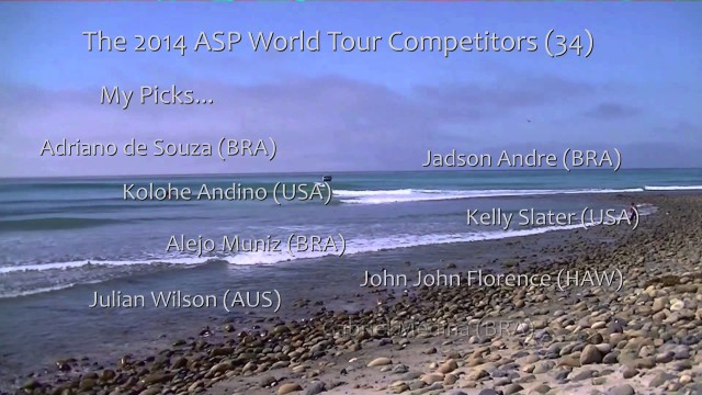 World Tour of Surfing Competitors 2014 – Professional Surfers