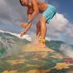 Surfing Small Waves at Flat Island in Kailua, Oahu, Hawaii. GoPro (longboard)