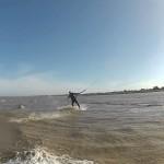 Kitesurfing darkslide, GoPro