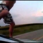 Car surfing epic fail!