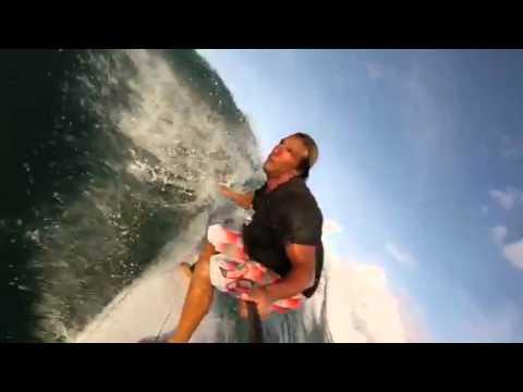 GoPro slo mo Longboard floater surfing in Barbados