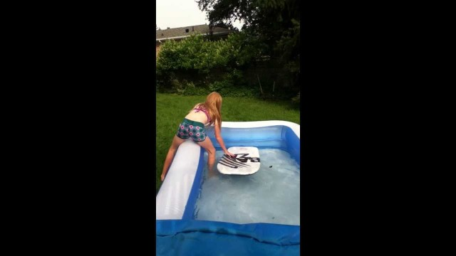 the mini pool surfing fail