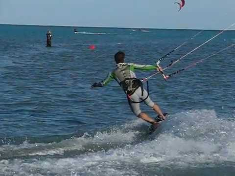 Kite Surfing – the perfect Jibe into toe side (slow motion)