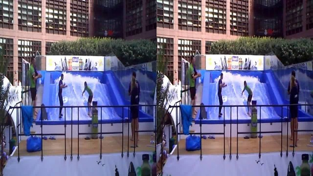3D Urban Surfing Competition (water + boards) at London's Broadgate