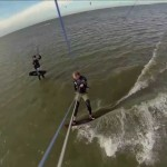 Kitesurfing with jumps& crashes