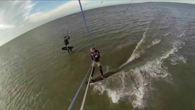 Kitesurfing with jumps& crashes