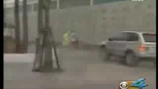 Kite surfer launched into building during tropical storm Fay
